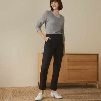 The White Company Italian Stretch Textured Slim Trousers, Black, 6