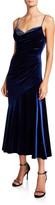 Theia Beaded Sweetheart Velvet Midi Slip Dress