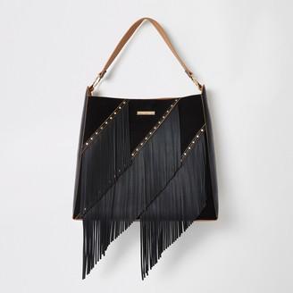 River Island Womens Black fringe tassel slouch handbag