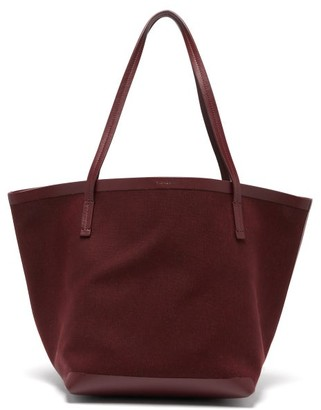 The Row Park Canvas And Leather Tote Bag - Womens - Dark Red