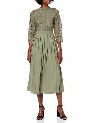 Little Mistress Women's Laurie Khaki Crochet Lace Midaxi Dress Party Green 001 (Size:16)