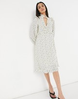 Thumbnail for your product : Lost Ink midi tea dress with ruffle trim in scattered dots