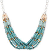 lonna & lilly Silver-Tone Beaded Multi-Layer Statement Necklace