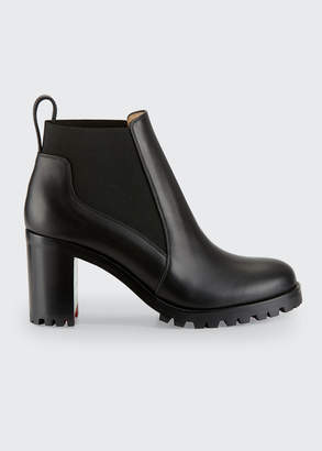 Christian Louboutin Marchacroche Leather Red Sole Booties