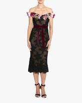 Marchesa Off-Shoulder Lace Cocktail Dress