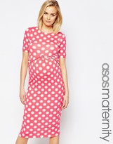 Asos Bodycon Dress In Spot With Cross Front