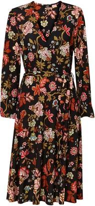 Wallis Black Floral Print Midi Dress