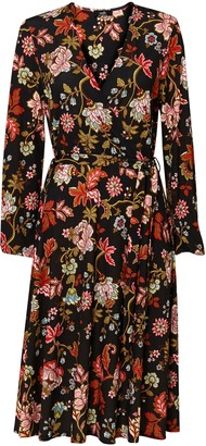 Wallis Black Floral Print Midi Dress