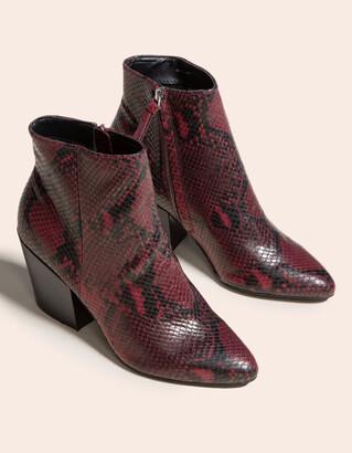 Dolce Vita Perilla Snake Block Heel Red Womens Booties