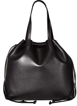 Madewell The Drawstring Transport Tote (True Black) Handbags