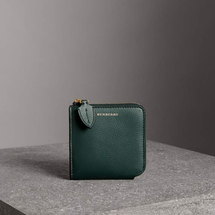 Burberry Grainy Leather Square Ziparound Wallet