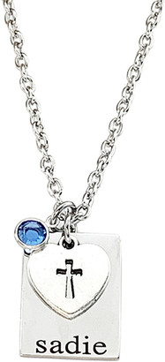 Swarovski Pebbles Jones Kids Girls' Necklaces Silver - Birthstone & Stainless Steel Personalized Rectangle Pendant Necklace With Crystals
