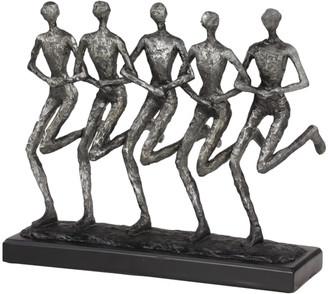 Uma Enterprises Textured Silver Human Figurines Running Sculpture On Black Base