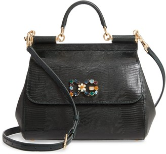 Dolce & Gabbana Miss Sicily St. Iguana Top Handle Leather Satchel