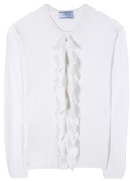 Prada Ruffled Cashmere And Silk Sweater