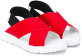 MSGM cross-over strap sandals - kids - Cotton/Leather/Spandex/Elastane/rubber - 28