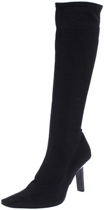 Sergio Rossi Black Stretch Fabric Knee Length Boots Size 38