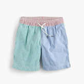 J.Crew Boys' swim trunk in colorblocked seersucker