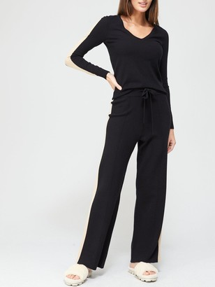 Very Wide Leg Co-ord Trousers - Black/Camel