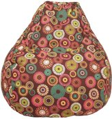Gold Medal Tear Drop Cotton Bean Bag with Starburst Pinwheel-Brown, Extra Large