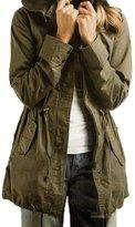 TRURENDI Womens Hoodie Drawstring Military Trench Parka Jacket Coat Jumper (M)