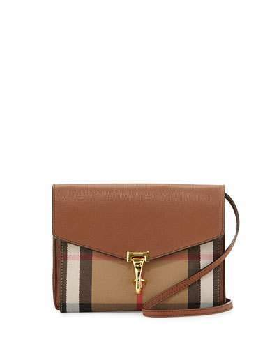 Burberry Check & Leather Small Crossbody Bag, Tan