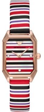 Emporio Armani Women's Multicolor Leather Strap Watch 24mm