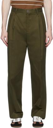 Loewe Khaki Pleated Chino Trousers