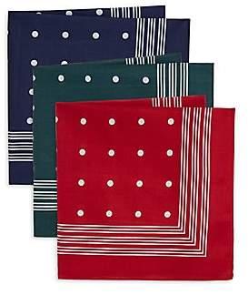 Barbour Men's Set of 3 Spotted Handkerchiefs