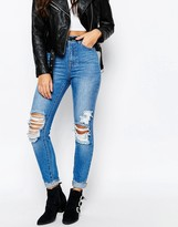 Missguided Riot High Rise Ripped Knee Skinny Jean