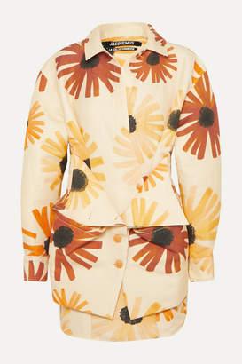 Jacquemus Murano Floral-print Cotton And Linen-blend Mini Dress - Pastel yellow