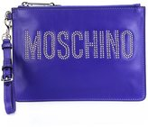 Moschino studded logo clutch