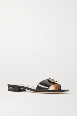 Jennifer Chamandi Andrea 20 Embellished Leather Sandals - Black