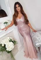 Pink Boutique Roxanne Pink Chiffon Sequin Maxi Dress