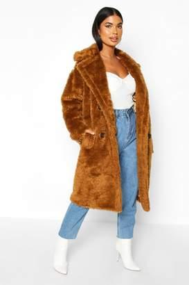 boohoo Petite Longline Double Breasted Faux Teddy Coat