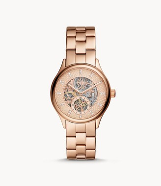 Fossil Modern Sophisticate Automatic Rose Gold-Tone Stainless Steel Watch