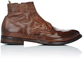 Officine Creative MEN'S EYELET LEATHER ANKLE BOOTS