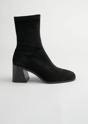 And other stories Geometric Heel Suede Sock Boots