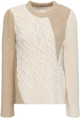 Co Cable Knit-paneled Metallic Alpaca-blend Sweater