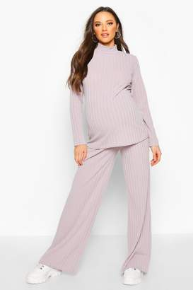 boohoo Maternity High Neck Wide Leg Lounge Set