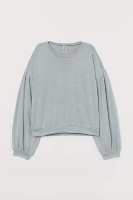 H&M Puff-sleeved Sweater - Turquoise
