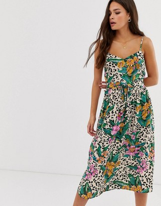 Asos Design DESIGN open back midi sundress with tie waist in animal tropical print-Multi