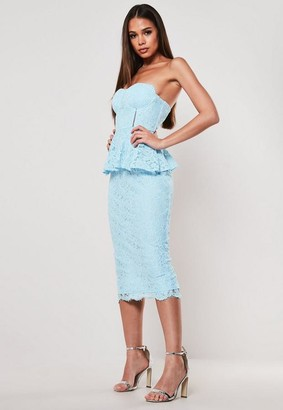 Missguided Blue Lace Cupped Peplum Bodycon Midi Dress