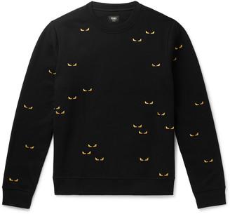 Fendi Peekaboo Embroidered Cotton-Jersey Sweatshirt