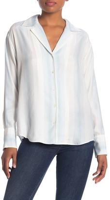 Frame Front Button Stripe Silk Blouse