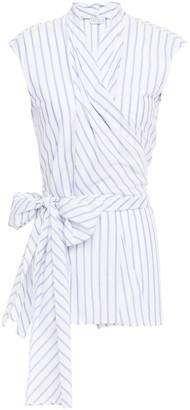 Brunello Cucinelli Striped Cotton Wrap Top
