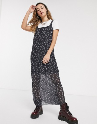 Noisy May grunge maxi dress in mesh with floral print-Black