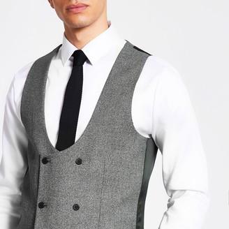 River Island Mens Dark Grey suit waistcoat