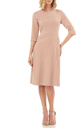 Kay Unger New York Elena Jewel-Neck Stretch Crepe Cocktail Dress