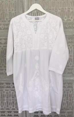 Dilli Grey DIlli Grey - Hand Embroidered Cotton Tunic Dress - SMALL - White